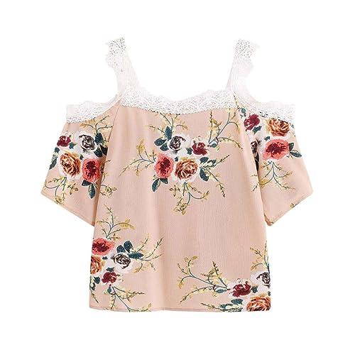 Vovotrade jardín Mujer cuello redondo de manga corta de hombro de encaje Floral Blusa Casual Tops Um...