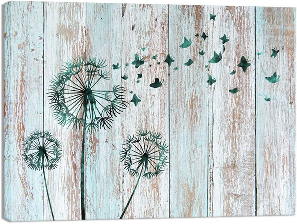 Visual Art Decor Teal Abstract Dandelion Butterflies Canvas Wall Art Prints Gallery Wrapped Ready to Hang for Modern Home Bedroom Office Wall Decoration Contemporary Art (16x20)