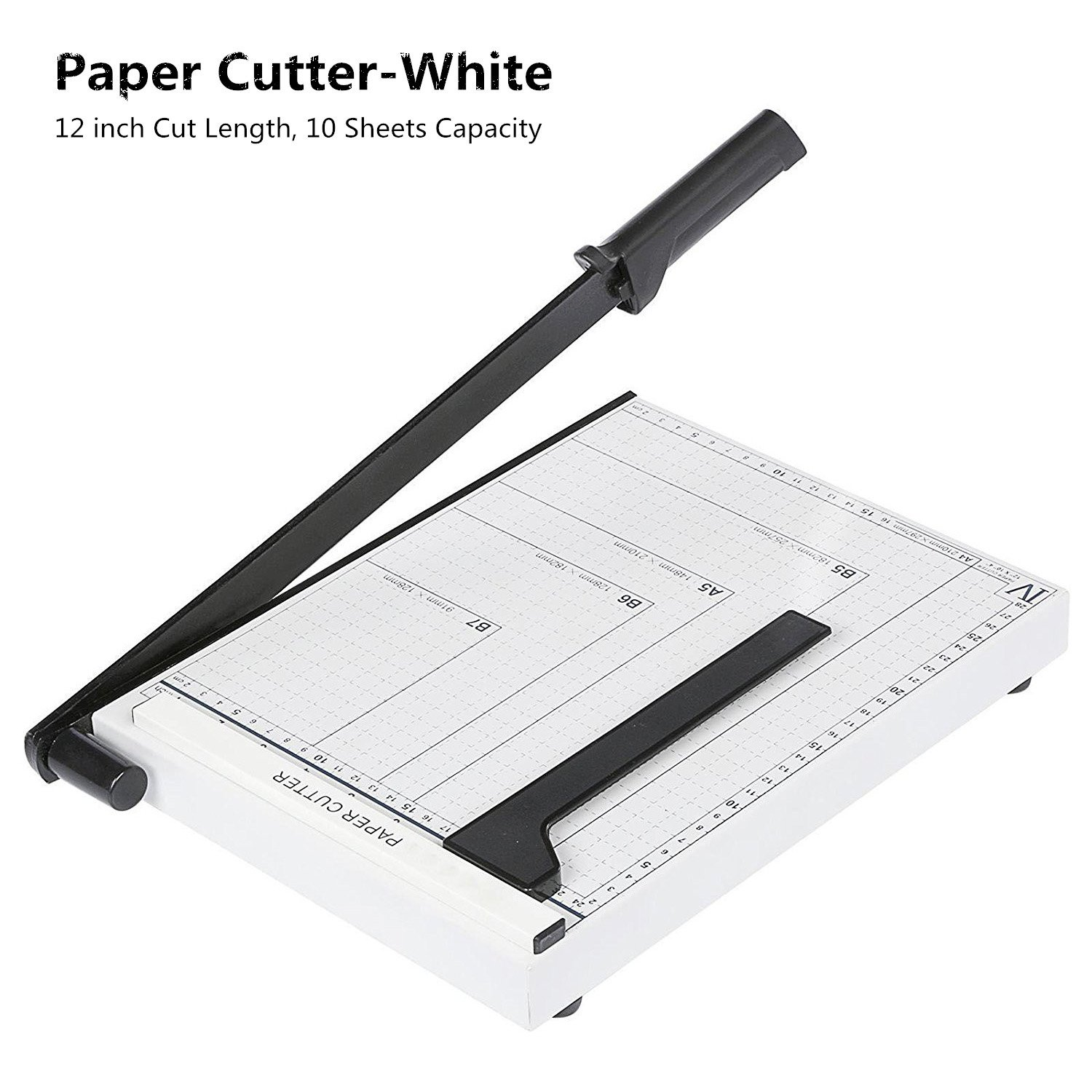 Black Guillotine Paper Cutter Machine, Heavy Duty Guillotine Cutting Blade Gridded Metal Base Photo Paper Trimmer, 12 inch Cut length, 10-sheet Capacity for Home/Office -US STOCK (A4-Black-300X250cm) Evokem