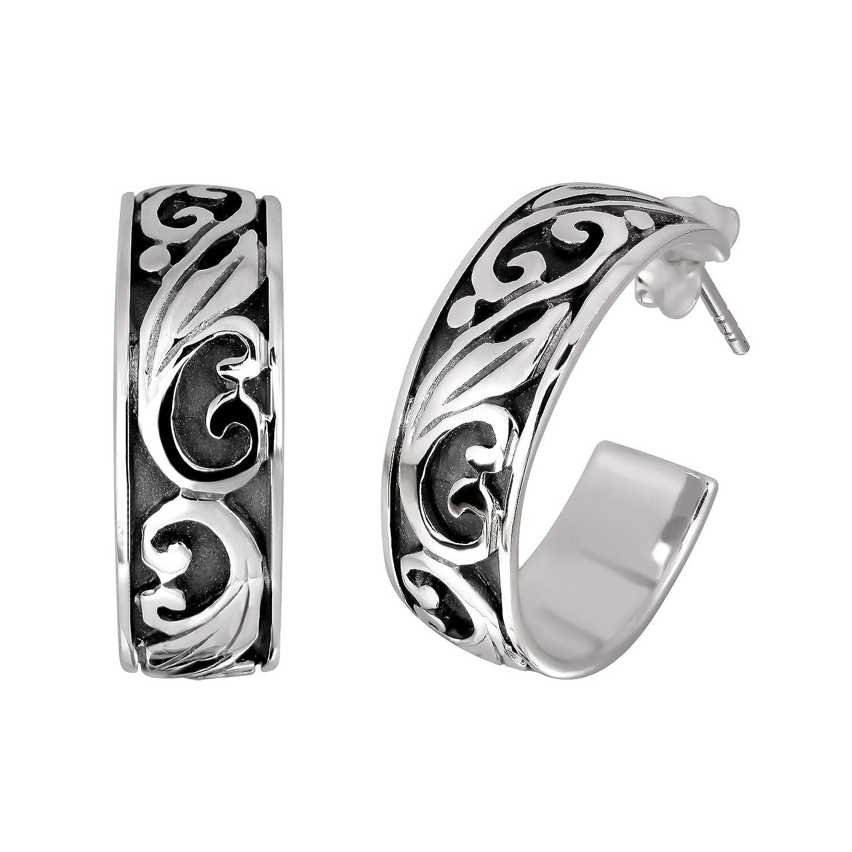 Vintage Filigree Heart Swirl 22mm .925 Sterling Silver Stud Earrings