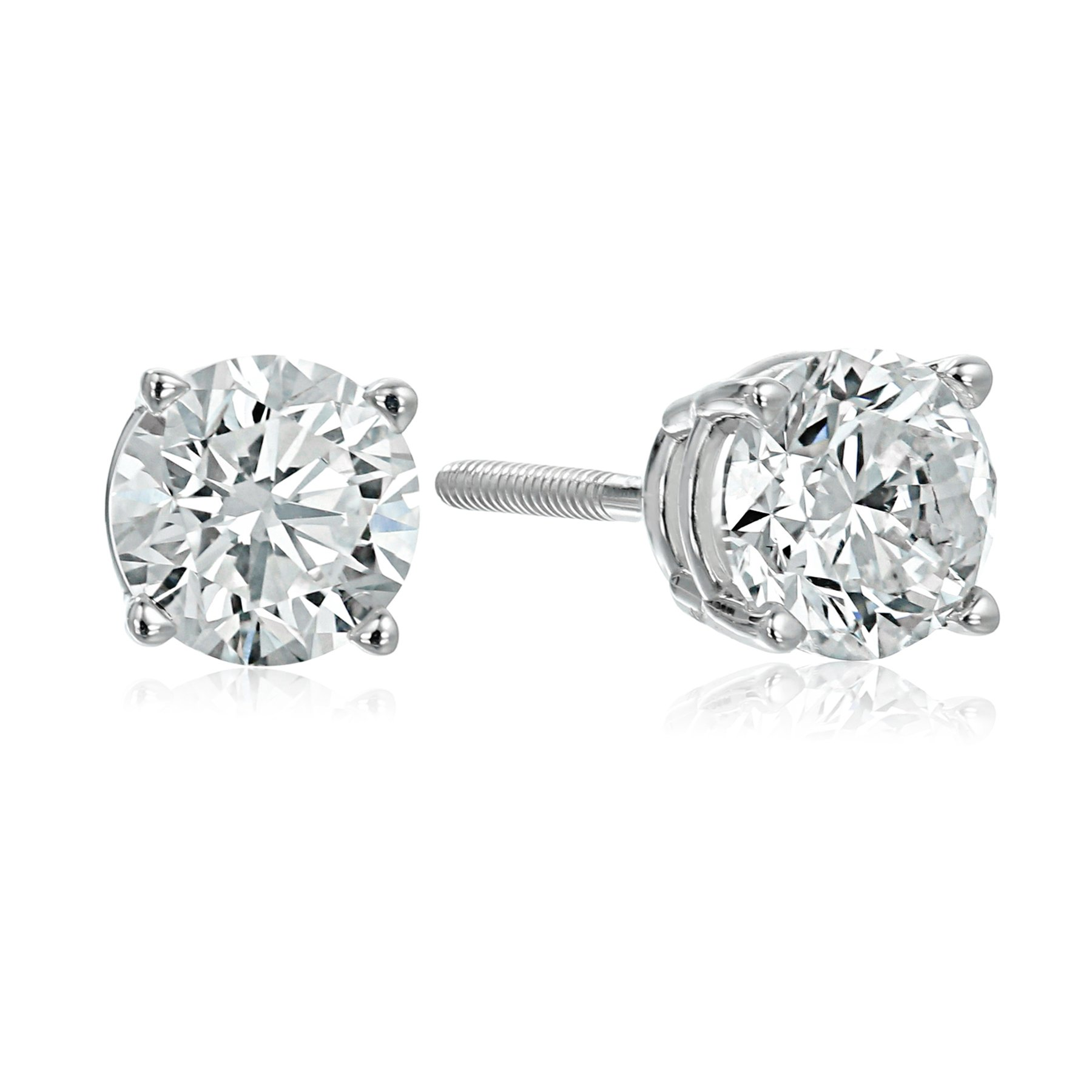 IGI Certified 14k White Gold Round Cut Diamond Stud Earrings (1 cttw, H-I Color, I1 Clarity)