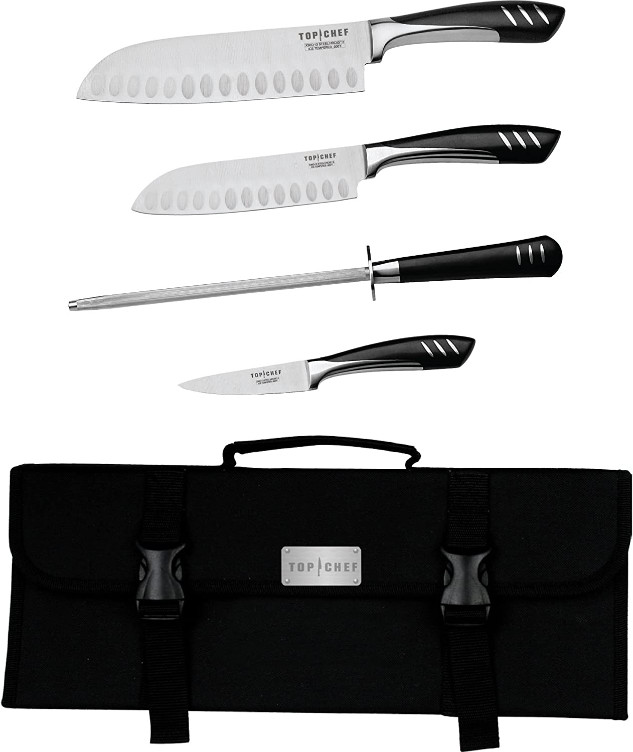 Amazon Com Top Chef By Master Cutlery 5 Piece Chef Basic Knife Set With Nylon Carrying Case Home Kitchen