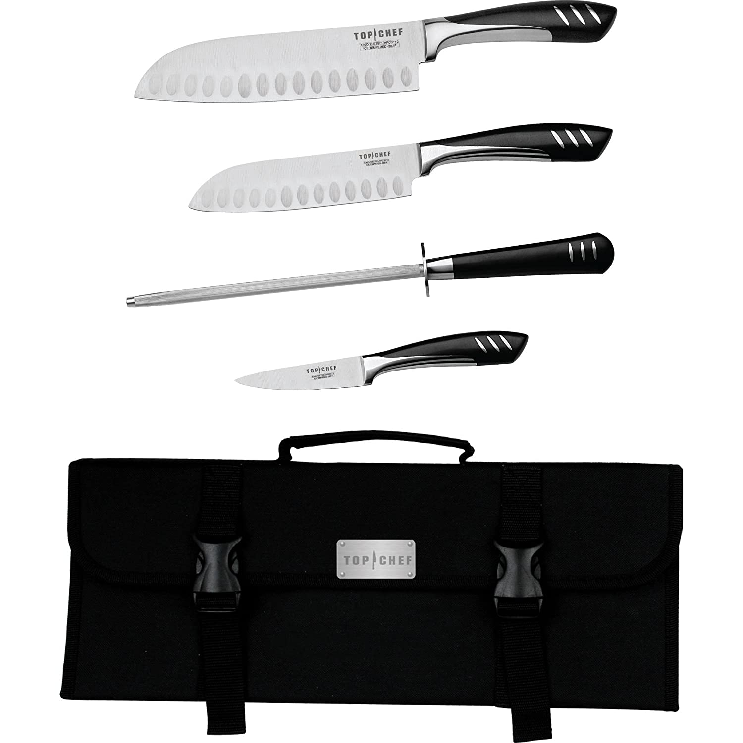 Amazon com top chef by master cutlery 5 piece chef basic knife set with nylon carrying case boxed knife sets kitchen dining