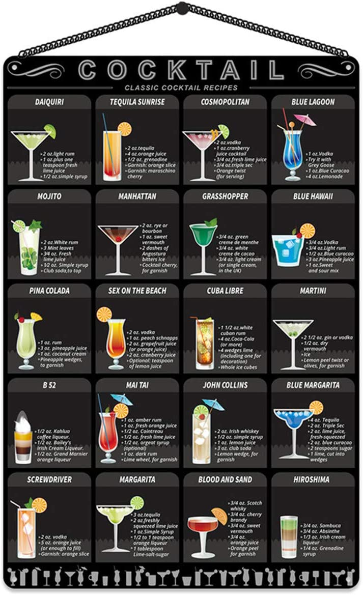 """Metal cocktail Menu Tin Sign Retro Mixology Recipe Lovers Guide Bar Pub Iron Chain Hanger Decor Drink Alcoholic Poster Rustic Painting Home Restaurant Kitchen Cafe Diner Shop 8"""" X12"""""""