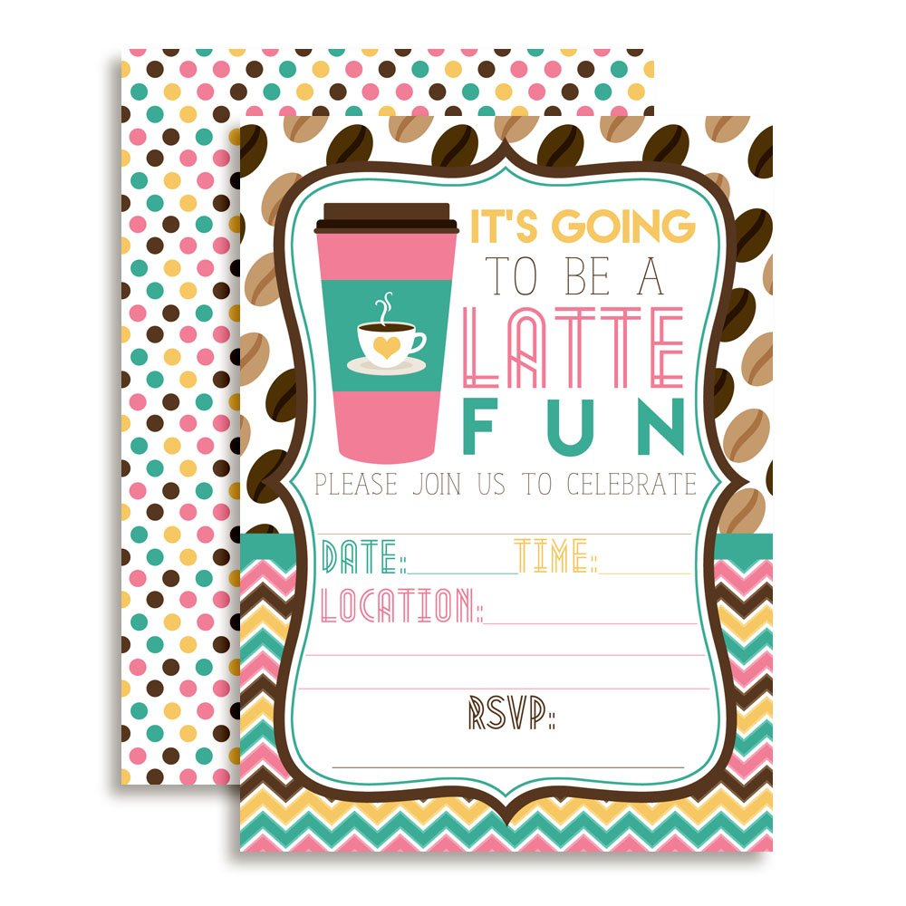 Latte Fun Pink and Aqua Coffee Birthday Party Invitations 20 5x7 Fill in Cards with Twenty White Envelopes by AmandaCreation