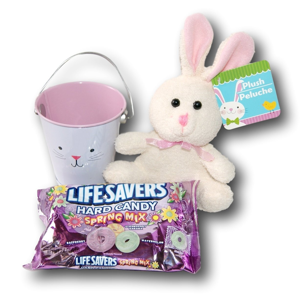 Amazon.com : Easter Bunny Plush Animal Lifesavers Candy Gift Pail : Grocery & Gourmet Food
