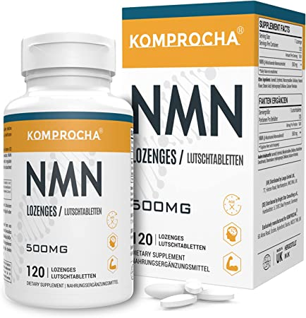 KOMPROCHA NMN Supplement 500mg, Nicotinamide Mononucleotide Lozenges NAD+ Booster for Anti-Aging & Cellular Repair (120 Lozenges, Pack of 1)