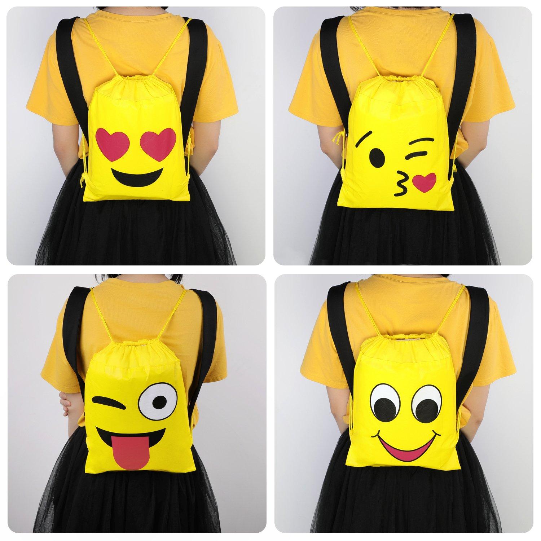 Konsait Emoji Bags for Emoji Party Supplies(12Pack), Emoji Drawstring Backpack Shoulder Bag Bulk Assorted Emoticon Party for Boys Girls Kids Birthday Candy Baby Shower Emoji Party Favors Gift by Konsait (Image #6)
