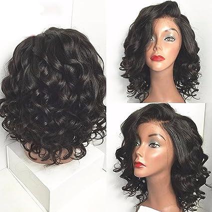 maycaur onda corta peluca de cabello humano pelucas de encaje con bebé pelo humano encaje peluca