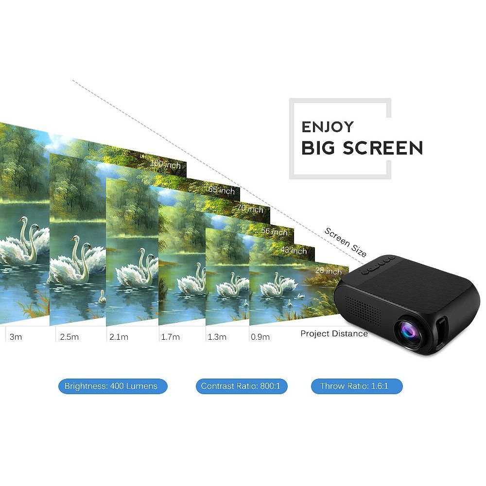 1080P Projector Home Theater Projector LED Home HD Projector Micro HD 1080P with Vision Protection to Support Home Entertainment//Business,Black
