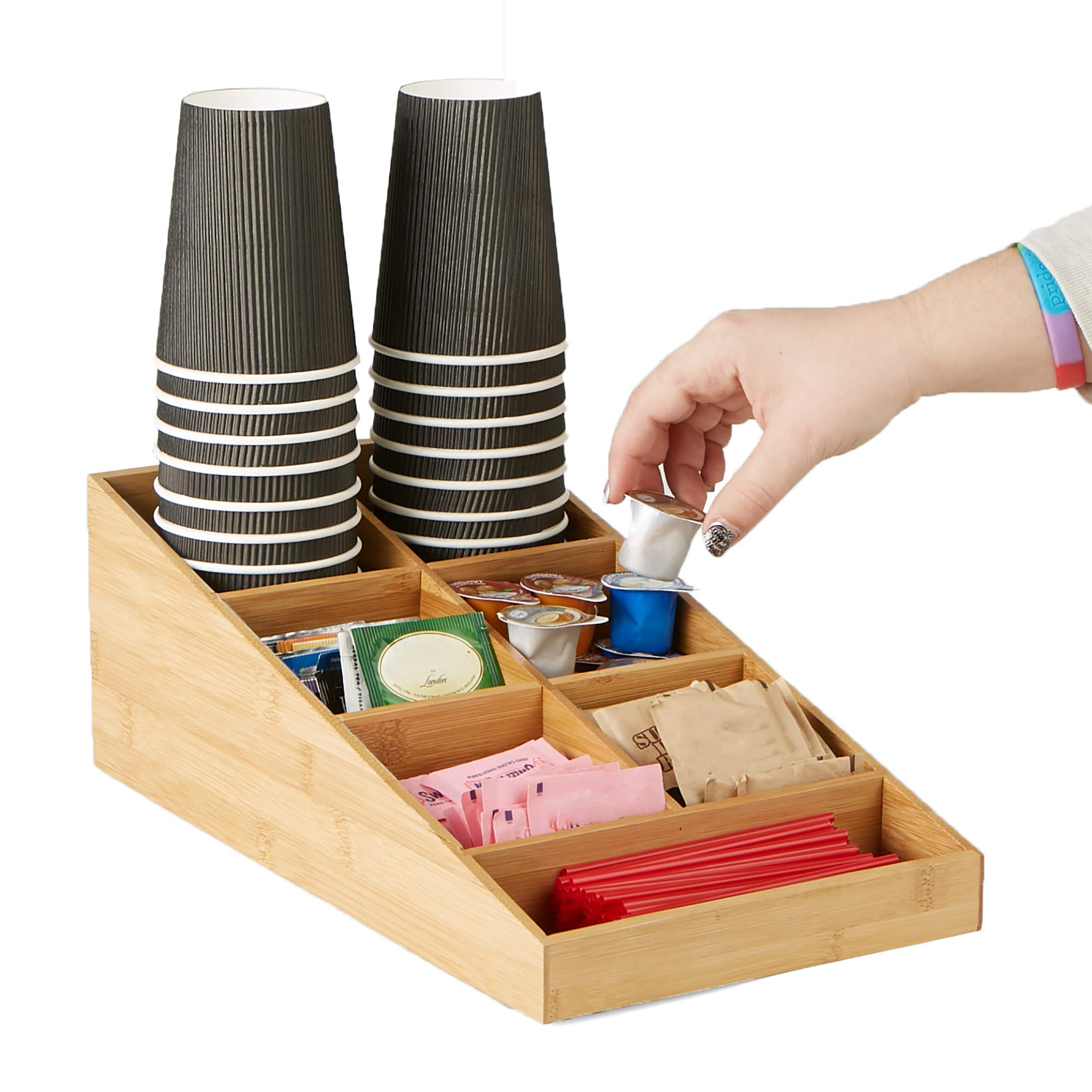 Mind Reader Coffee Condiment and Accessories Organizer, 7 Compartments, Brown by Mind Reader (Image #7)