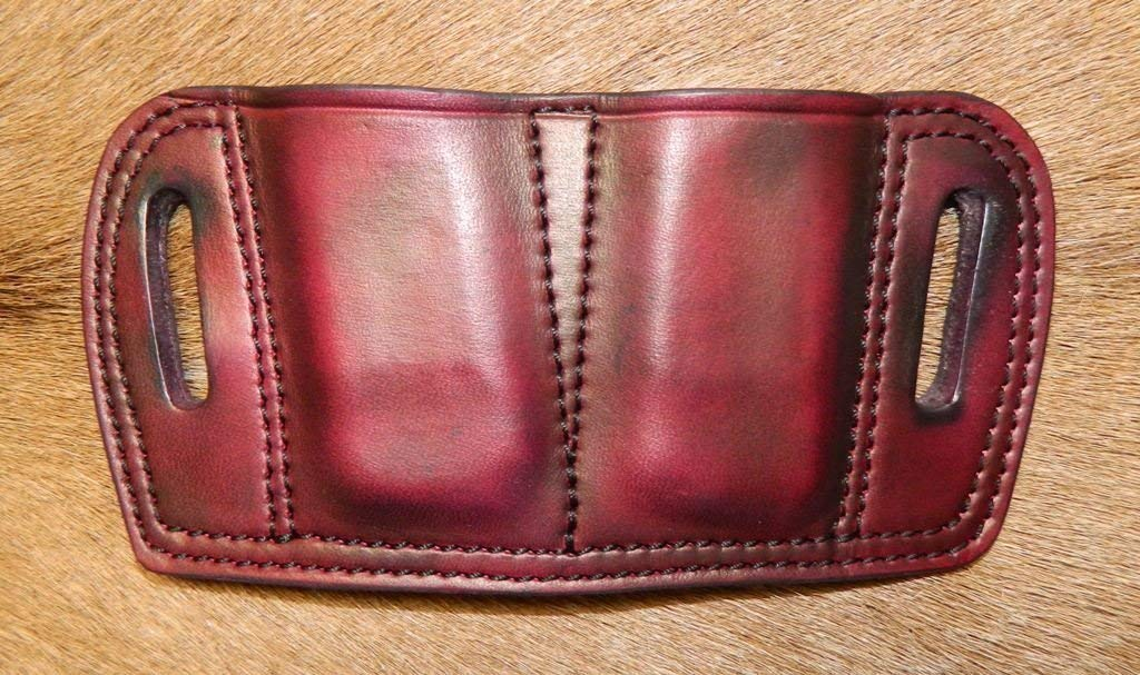 Leather - Double Magazine Ammunition Pouch, Fits Smith & Wesson M&P Shield 9mm or 40cal cartridge mags