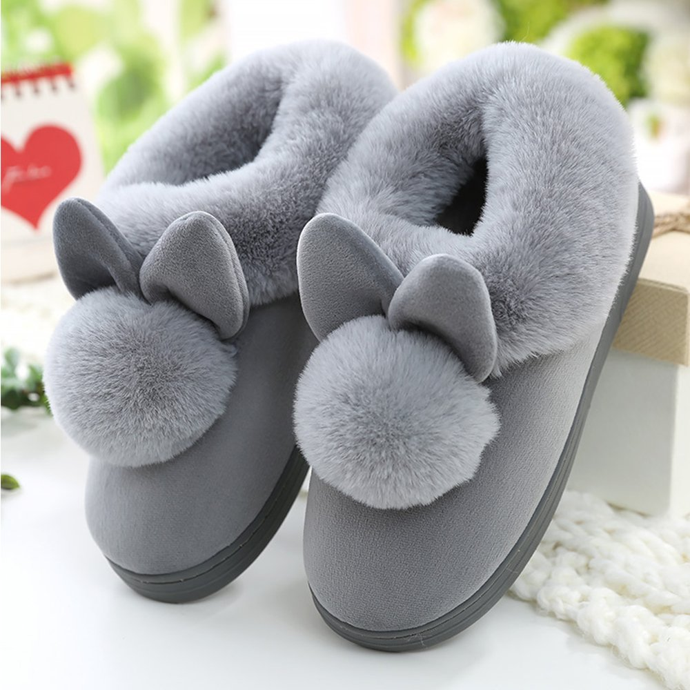 JACKSHIBO Womens Fur Home Casual Slippers,Soft Winter Warm Cute Cartoon House Slippers by JACKSHIBO (Image #5)