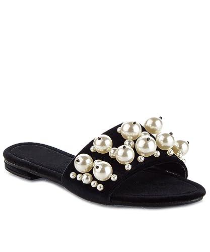 909c8827b829 CAPE ROBBIN Women s Open Toe Pearl Embellished Slide Sandals Black ...