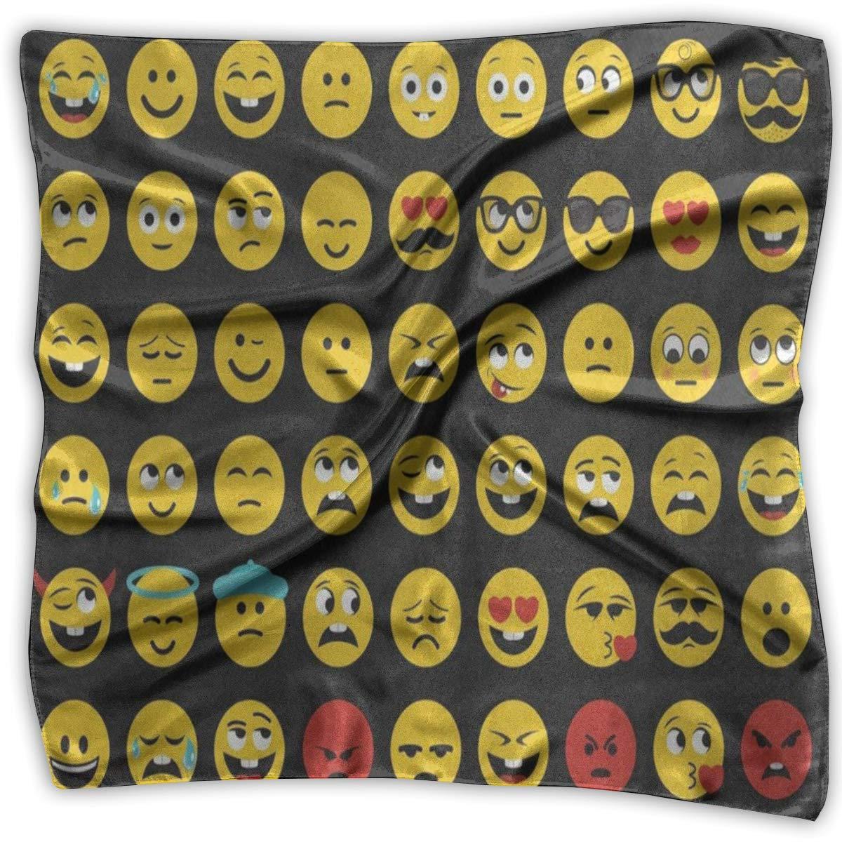 Square Scarf Smiling Face Emotion Emoji Muffler Unisex Muffler Tie For Woman