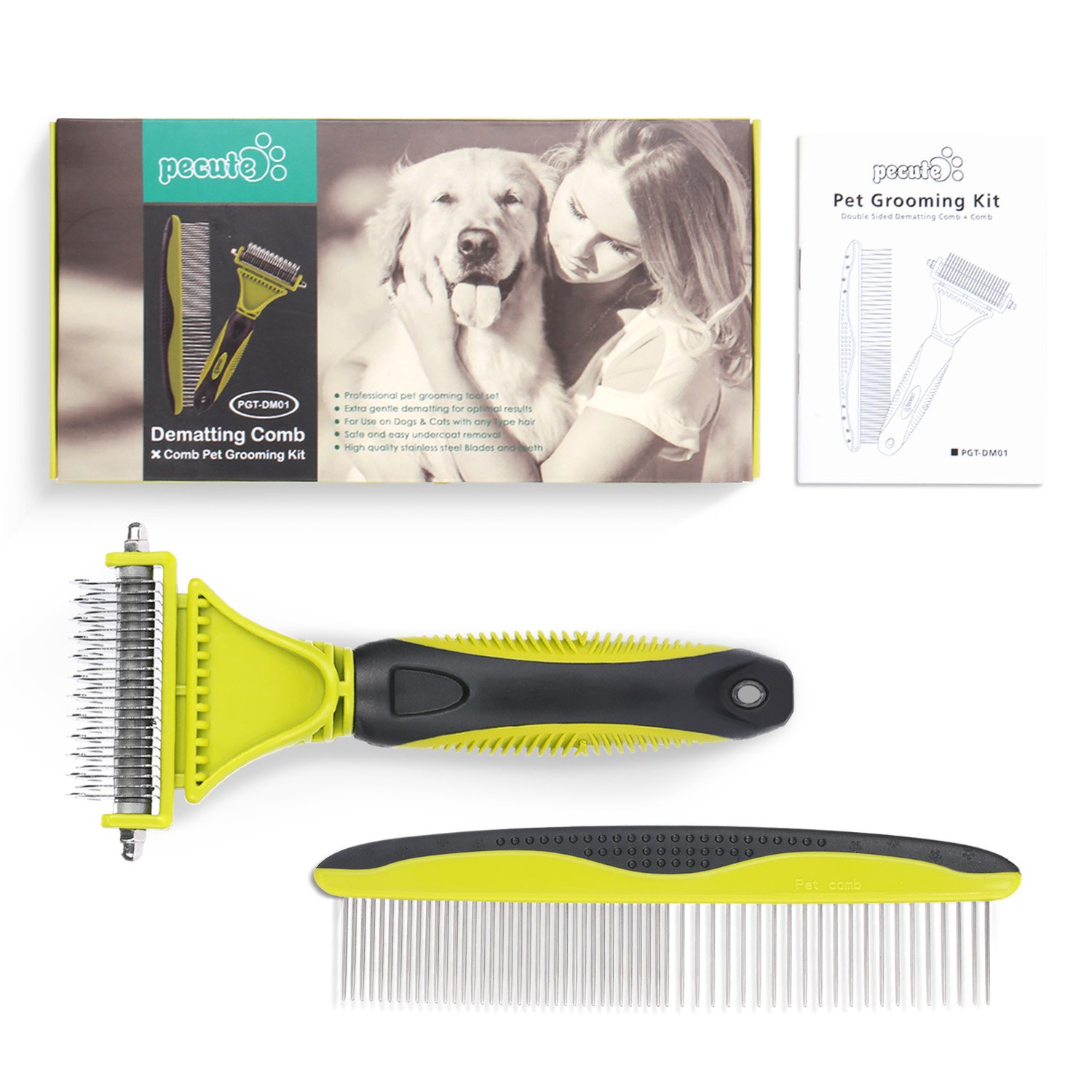 Cat Shedding Brush with Self Cleaning Button for Cat Puppy Rabbit, Remove Dead Hair and Undercoat, Effectively Reduce Shedding up to 95% for Long & Short Hair (76 mm) Pecute