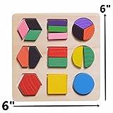 XADP Wooden Preschool Shape Puzzle Geometric Chunky Puzzles Early Development Educational Block Sorter,Set of 3