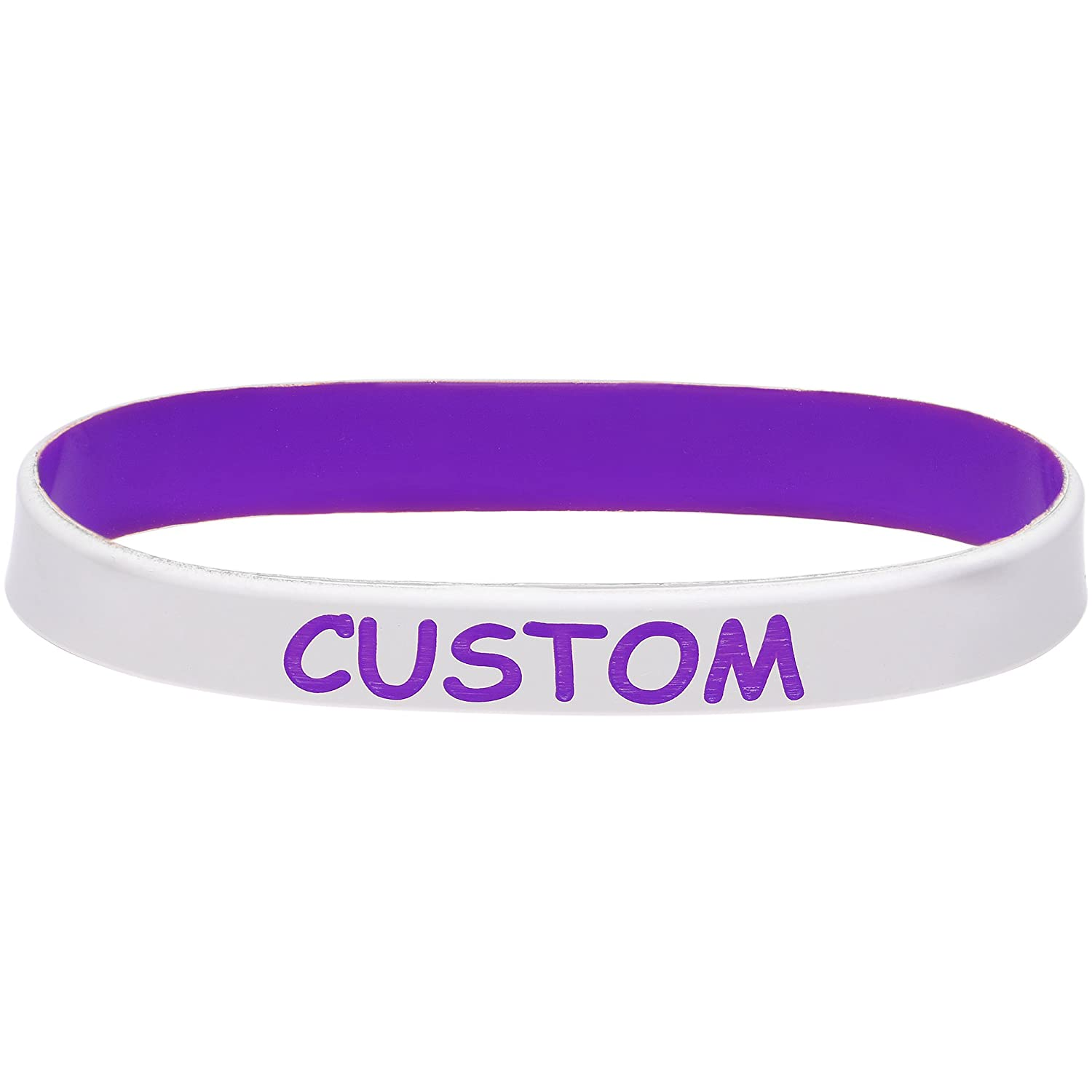 Body Candy Customizable White Purple Silicone Stretch Personalized Message Bracelet