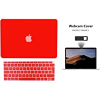 Protector Funda Case para Macbook + Protector Skin Cover de Teclado en Español + Webcam Cover AntiSpy Rojo Macbook Air 13'' Touch ID 2018 Model: A1932