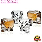 Skull Shot Glasses - Set of 4 Crystal 3D 2.5 Ounce Fun Pirate Head Shotglass for Alcohol Party Drinks - Vodka Scotch Whiskey Tequila Wine Beer - with Gift Box