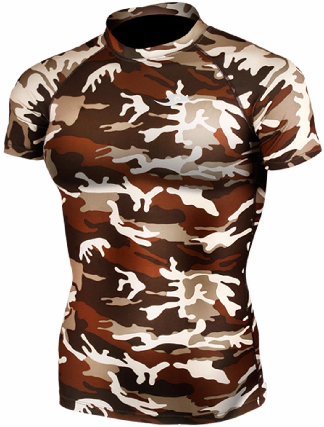 New 063 Skin Tight Compression Base Layer Camo T Shirt Short Sleeve Mens