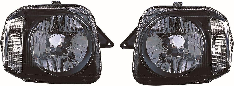 Black Front Headlight Headlamp Pair Left /& Right aftermarket Suzuki Jimny 1998