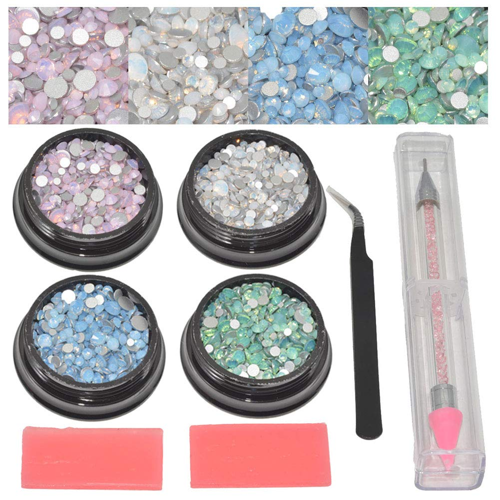 Queenme 4 Boxes Opal Rhinestones for Nails 3D Nail Crystals Flatback Gems DIY Jewels Diamond Stones and Charms for Nail Art Decorations Crafts with Rhinestones Picker Tweezer&Pen by Queenme
