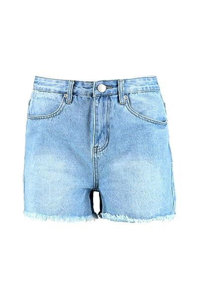 aca6323034 Boohoo Womens Tall Shana High Waist Frayed Denim Shorts in Blue size ...