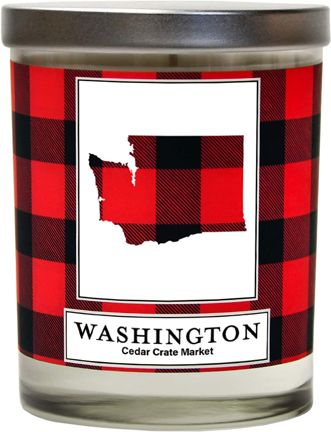 Washington Buffalo Plaid Scented Soy Candle | Fraser Fir, Pine Needle, Cedarwood | 10 Oz. Glass Jar Candle | Made in The USA | Decorative Candles | Going Away Gifts for Friends | State Candles