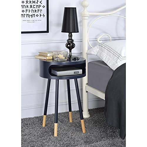 Major-Q Wooden Round End Table with Open Drawer for Living Room Bedroom Entryway Hallway, Black 22 x 16 x 16