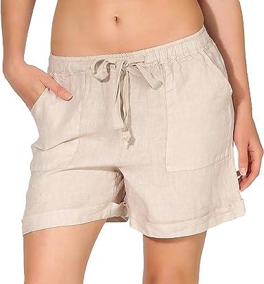 Malito Femmes Lin Shorts Pantalon Bermuda Basic Loisirs 1965