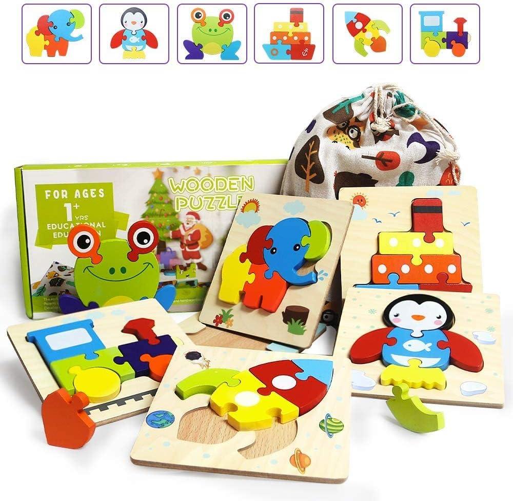 IMMEK 3D Puzzles de Madera Juguetes para Bebes 1 Año 2 3 4 5 Años Montessori Educativos Rompecabezas Juegos Niñas y Niños Infantile Regalo Preescolar de Aprendizaje Temprano Animales y Vehículos 6 Pcs