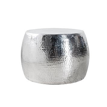 Design Couchtisch ORIENT 60cm Hochwertige Nickel Aluminiummetall Legierung Silberfarbig Hammerschlag Optik