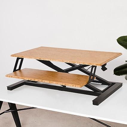 Cooper Standing Desk Converter   35u0026quot; Bamboo Height Adjustable Workspace  ...