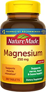 Nature Made Magnesium Oxide 250 mg Tablets, 200 Count Value Size for Nutrition Support† (Pack of 3)