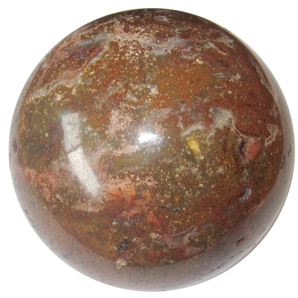 Satin Crystals Jasper Ocean Ball Collectible Sphere Stone Holistic Healing Orb Madagascar, Exact One C02 (Brown Techtonics, 3.2 Inches)