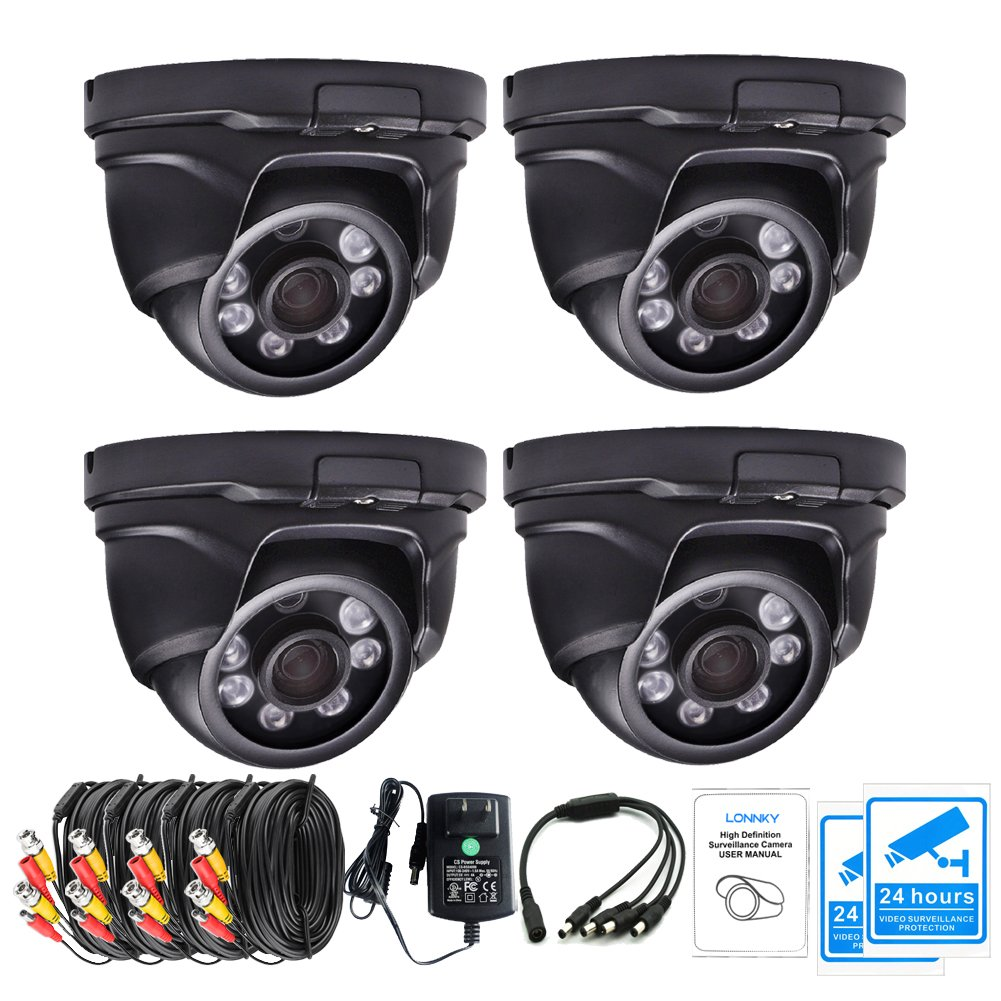 LONNKY 4-Pack 1080P TVI Outdoor Dome Cameras (Including Power Supply, Splitter Cable and Video/Power Extension Cable), 3.6mm 80ft Night Vision HD CCTV Waterproof Security System, Black
