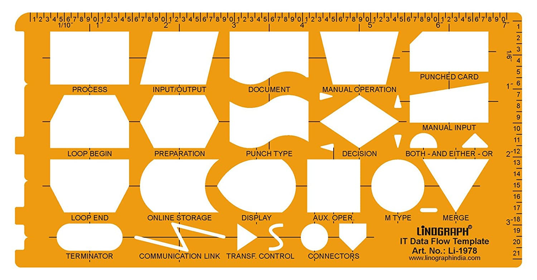 Linograph Itデータフローチャートorangetemplate図面製図ステンシル オレンジ B071DRP2HK オレンジ