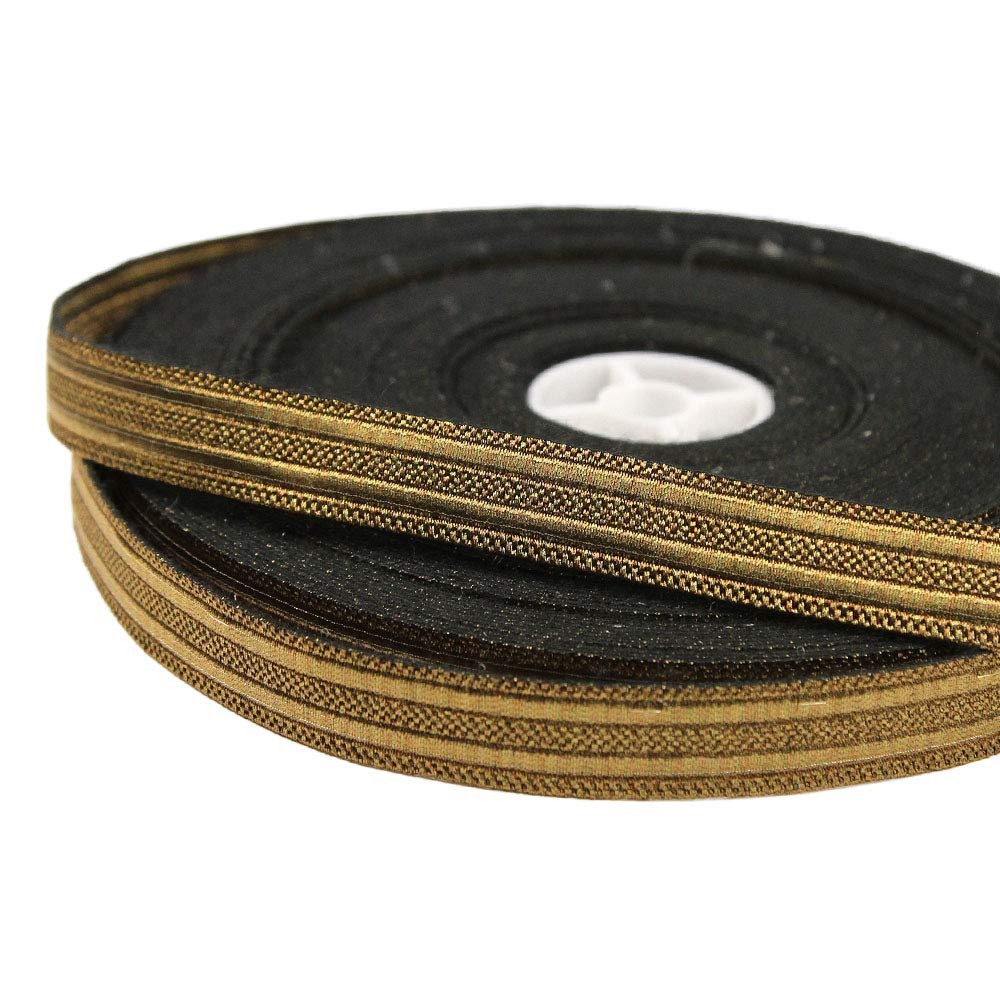 27 Yard Roll of NORTH 5/8'' Wide Double Stripe Military Bullion Braid Trim, Antique Brass by Bias Bespoke