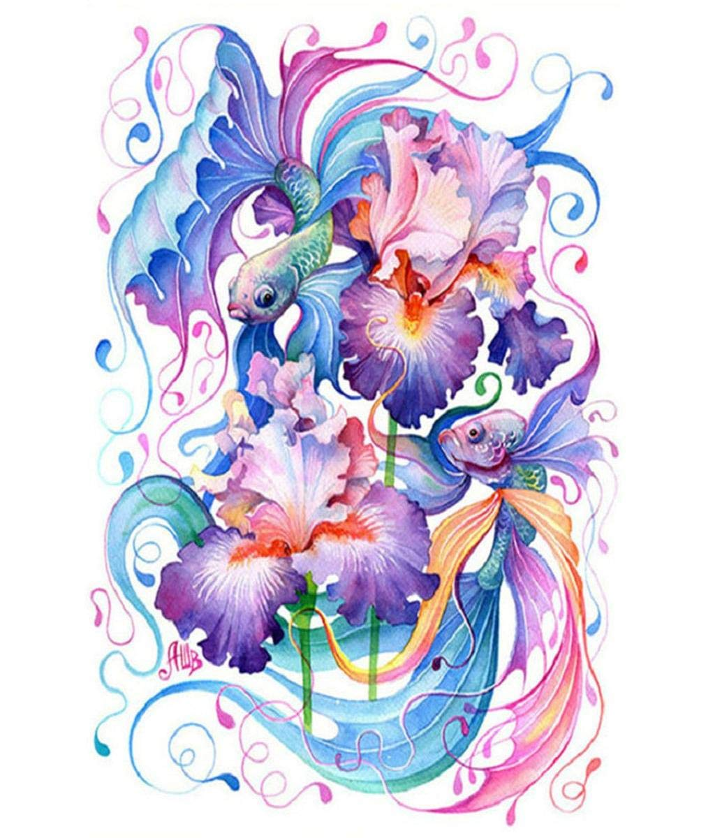"""Barlingrock 5D DIY Pasted Diamond Painting for Adult Kid, The Special Colorful Koi Rhinestone Paintings Full Drill Embroidery Cross Stitch Craft for Living Room Bedroom Home Wall Decor-12x16"""""""