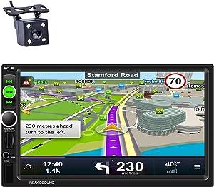Reakosound Reproductor MP5 7 Pulgadas Radio 2 DIN 1080P HD Pantalla Táctil Bluetooth GPS de navegación Car Stereo Radio FM/Am/RDS Cámara de Visión Trasera