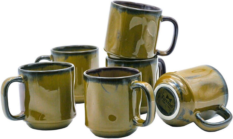 Tuxton Home THGAJ150-6B Artisan Ceramic Coffee Mug, 12-Ounce, Olive Green