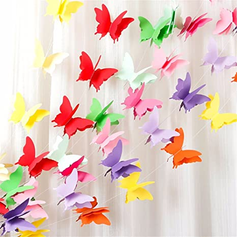 Party Sharty Rainbow Butterfly Paper Garland Decorations Birthday