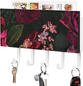 VinMea Midnight Summer Botanical Roses, Wall Mounted Key Hook Key Holder and Mail Shelf - Wall Decor Organizer Rack for Keys, Letters, Bills