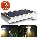 Leeron 49 LED Lampe Solaire Detecteur de Mouvement Eclairage Solaire Lampe Solaire Jardin sans Fil, pour Store Exterieur, Escalier Exterieur, Spot Exterieur, Applique Exterieur, Cuisine Exterieure