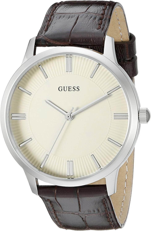 ゲス GUESS Men's U0664G2 Dressy Silver-Tone Watch with Plain White Dial and Genuine Leather Strap Buckle [並行輸入品]