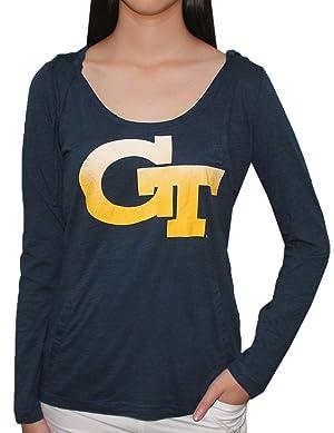 NCAA GEORGIA TECH YELLOW JACKETS Team Logo Long Sleeve Hooded T Shirt for Women XL Dark Blue