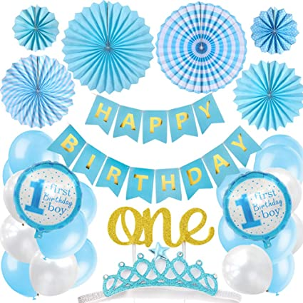 "6 x 12/"" Balloons Blue Printed HAPPY BIRTHDAY"