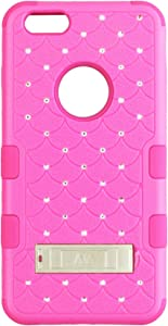MyBat APPLE iPhone 6 Plus Natural Hot Pink/Hot Pink TUFF Hybrid Phone Protector Cover (with Diamonds) - Retail Packaging - Pink