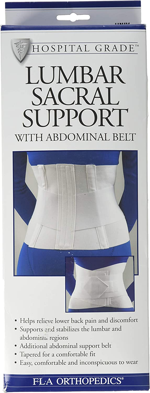 "FLA 10"" Lumbar Sacral Back Support with Abdominal Belt #31208 - Universal White 712BsprtHeGL"